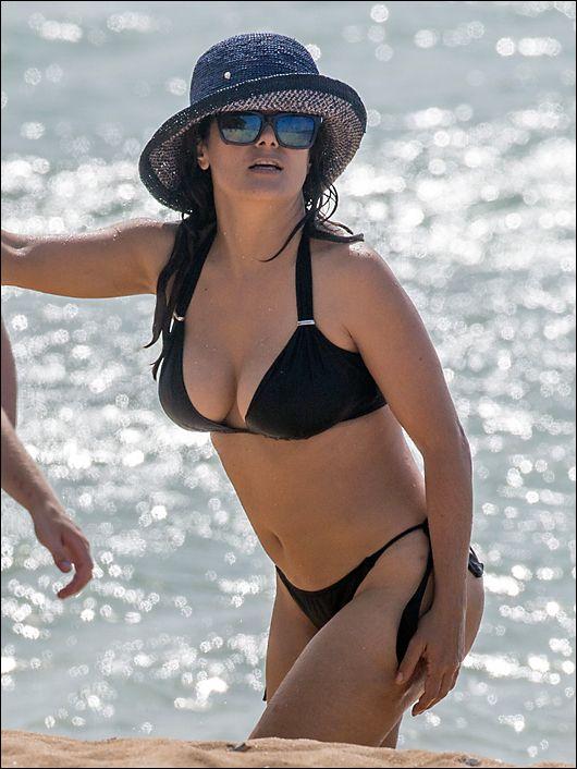 Salma Hayek Black Bikini