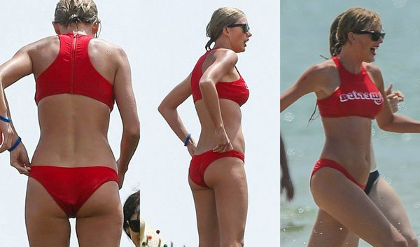 Taylor Swift in red bikni